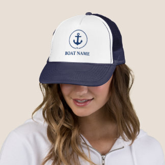 Nautical Boat Name Anchor Rope Navy Blue Trucker Hat