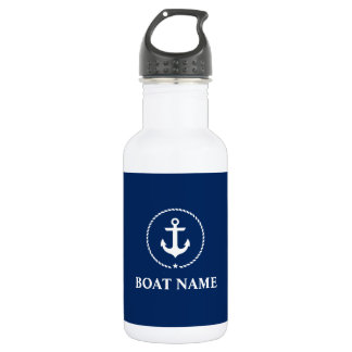 Nautical Boat Name Anchor Rope Navy Blue White 532 Ml Water Bottle