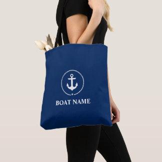 Nautical Boat Name Anchor Rope Tote Bag Navy Blue