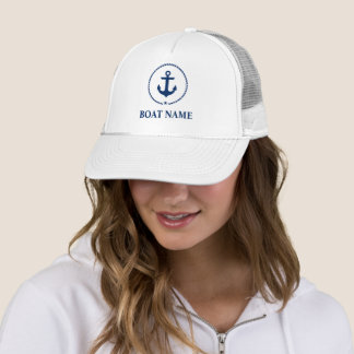 Nautical Boat Name Anchor Rope Trucker Hat