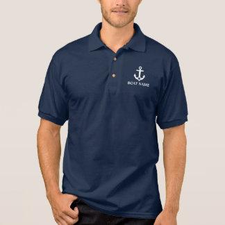 Nautical Boat Name Anchor Star Blue Polo