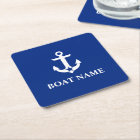 Nautical Boat Name Anchor Star Blue Square Paper Coaster