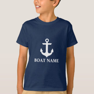 Nautical Boat Name Anchor Star Kids Blue T-Shirt
