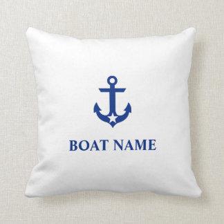 Nautical Boat Name Anchor Star White Throw Pillow