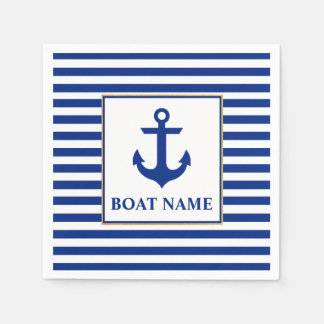Nautical Boat Name Anchor Striped Disposable Napkins