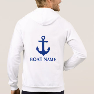 Nautical Boat Name Anchor White M Hoodie