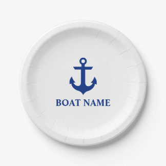 Nautical Boat Name Anchor White Paper Plate