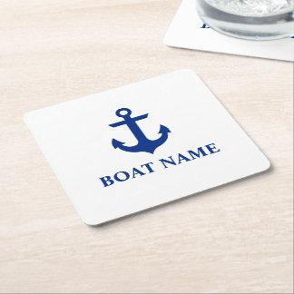 Nautical Boat Name Anchor White Square Paper Coaster