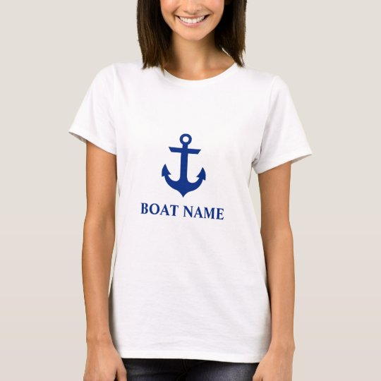 Nautical Boat Name Anchor White W T-Shirt