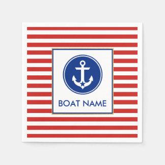 Nautical Boat Name Party Cocktail Napkins RWB Disposable Napkin