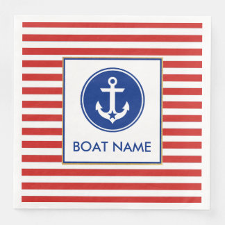 Nautical Boat Name Party Dinner Napkins RWB Paper Napkins