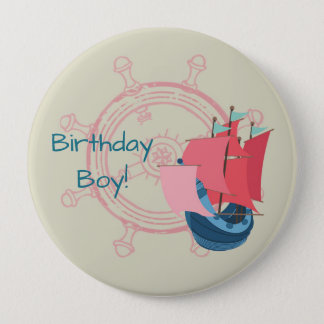 Nautical Boat Personalized Birthday Button