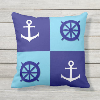 Nautical Boat Wheel and Anchor Throw Pillow