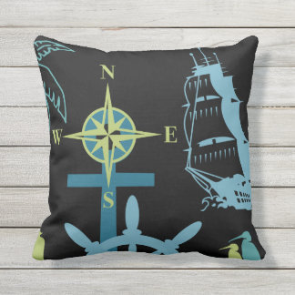 Nautical Boating Helm Compass Anchor Seahorse Blac Throw Pillow