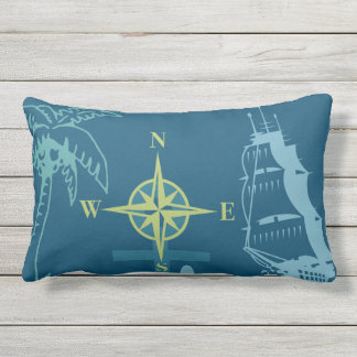 Nautical Boating Helm Compass Anchor Seahorse Teal Outdoor Pillow