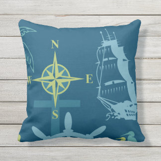 Nautical Boating Helm Compass Anchor Seahorse Teal Throw Pillow
