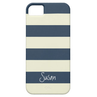 Nautical Bold Navy Stripes with Name - iPhone Case