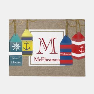 Nautical Bouys Burlap Personalized Doormat