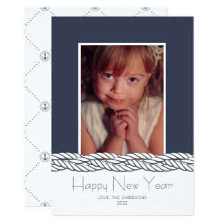 Nautical Braid Navy Photo New Year's Day card