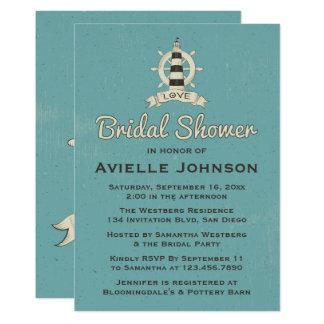 Nautical Bridal Shower Blue Lighthouse Ship Anchor Card