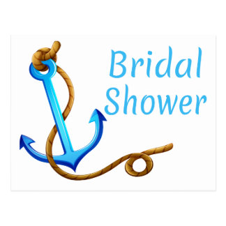 Nautical Bridal Shower Blue Turquoise Ship Anchor Postcard