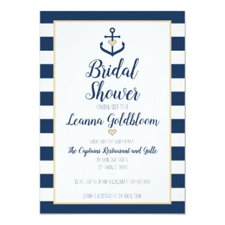 Nautical Bridal Shower Invitation - Anchor - Navy