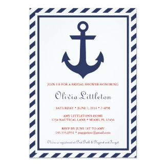 Nautical Bridal Shower Invitations - Navy Anchor