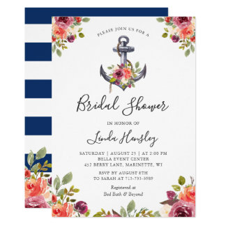 Nautical Bridal Shower Navy Stripes Anchor Floral Card