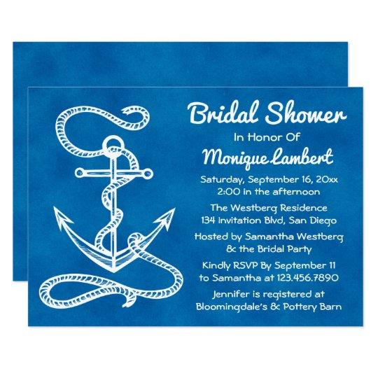 Nautical Bridal Shower Ship Anchor Blue Watercolor Card