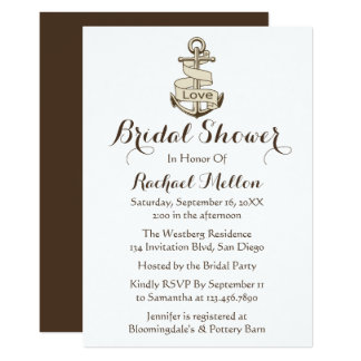 Nautical Bridal Shower Ship Anchor Brown And Whit Card