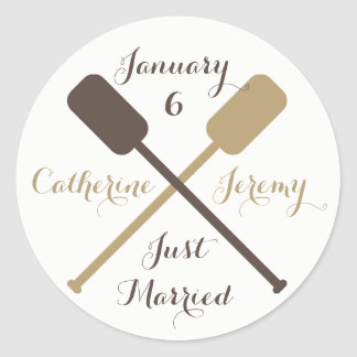 Nautical Brown Just Married Boat Oars Ship Wedding Classic Round Sticker