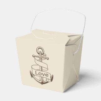 Nautical Brown Ship Anchor Tan Wedding Party Favor Box