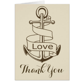 Nautical Brown Thank You Ship Anchor Tan Love Card