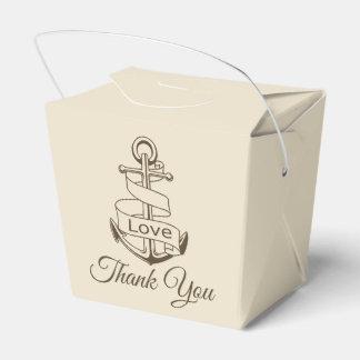Nautical Brown Thank You Ship Anchor Tan Wedding Favor Box