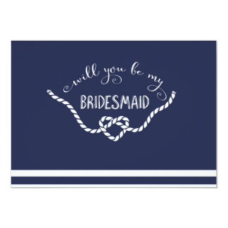 Nautical Calligraphy Will You Be My Bridesmaid Card