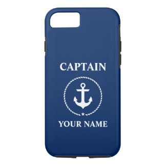 Nautical Captain Add Name Anchor Rope Navy Blue iPhone 8/7 Case