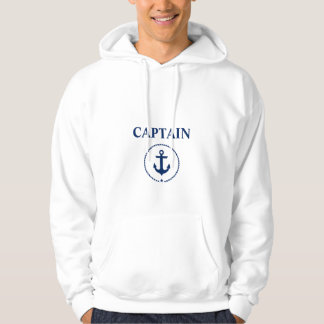 Nautical Captain Anchor Rope White Hoodie
