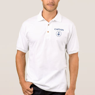 Nautical Captain Anchor Rope White Polo Shirt