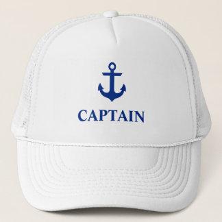 Nautical Captain Anchor White Trucker Hat