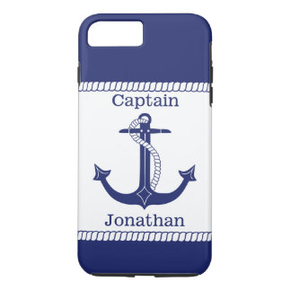 Nautical Captain Blue Anchor Personalized iPhone 7 Plus Case