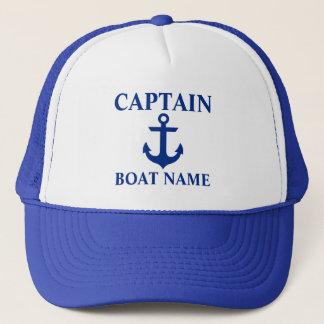 Nautical Captain Boat Name Anchor Blue Trucker Hat
