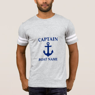 Nautical Captain Boat Name Anchor FB Grey T-Shirt