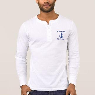Nautical Captain Boat Name Anchor Henley T-Shirt