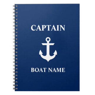 Nautical Captain Boat Name Anchor Navy Blue Notebook