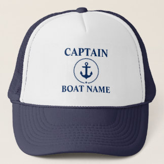 Nautical Captain Boat Name Anchor Rope Blue Trucker Hat