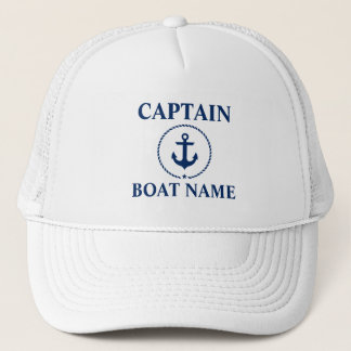 Nautical Captain Boat Name Anchor Rope Trucker Hat