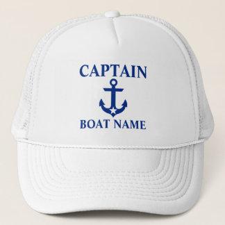 Nautical Captain Boat Name Anchor Star White Trucker Hat