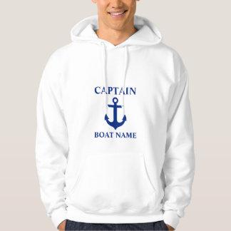 Nautical Captain Boat Name Anchor White Hoodie