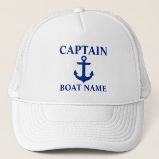 Nautical Captain Boat Name Anchor White Trucker Hat
