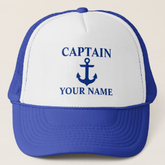 Nautical Captain Name Anchor Blue Trucker Hat